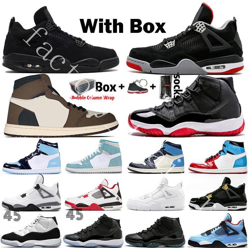 2020 nuevo negro del gato 4 4s Cemento Blanco ¿Qué El 1 1s zapatos de baloncesto del Mens Travis Scotts UNC Bred 11 11s Concord para hombre zapatillas de deporte del instructor de deportes