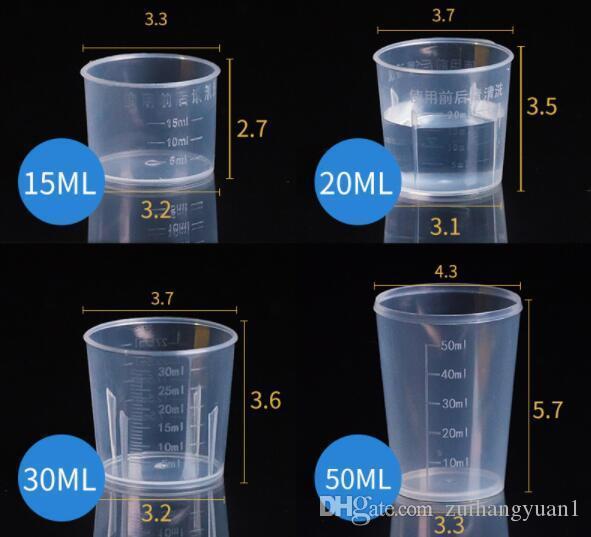 20 ml/30 ml/50 ml/500 ml reutilizable transparente taza de medición con escala de silicona herramientas de medición para DIY hornear cocina Bar comedor Accesorios