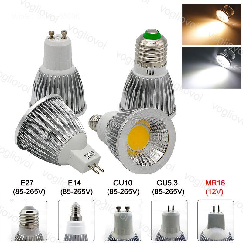 Ampoules à LED Dimmable Spotlights Lampe COB 110V 220V 120 Angle Aluminium GU10 E27 GU5.3 MR16 Lumières Épacket Cool Cool DC12V
