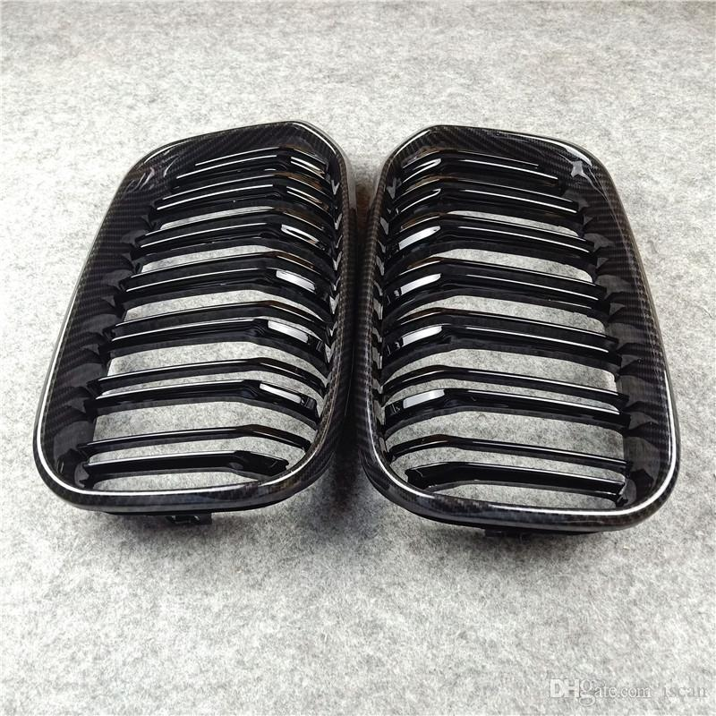 1 Pair Car Glossy black/ M color Front Kidney Grille Dual slat Grilles For F20 F21 LCI
