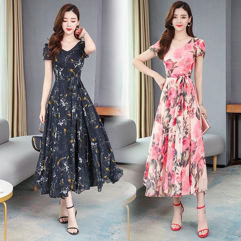 2020 핫 판매 꽃 이브닝 드레스 보석 넥 반팔 셔링 쉬폰 인쇄 댄스 파티 드레스 바닥 길이 정장 파티 드레스