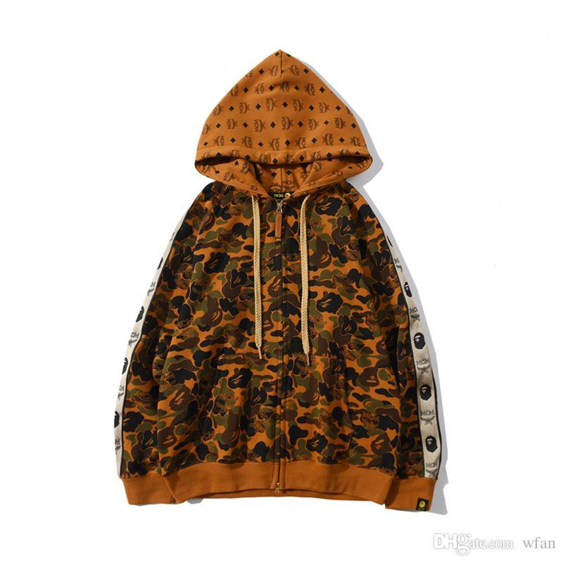 Осень зима Новый стиль мужская кобрендинг камуфляж Терри кардиган свободная куртка любовника повседневная молния кардиган камуфляж куртка