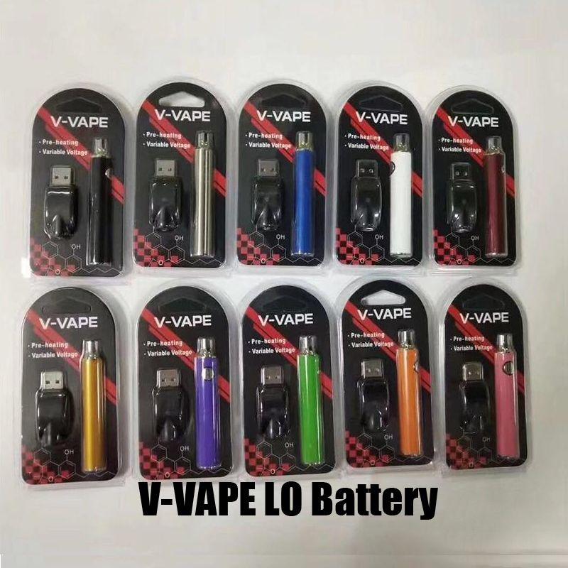 510 Konu Kalın Petrol Kartuş Tankı için USB Şarj Cihazı ile Sıcak V-VAPE LO Onceden VV Pil Takımı 650mAh Değişken Voltaj Pil