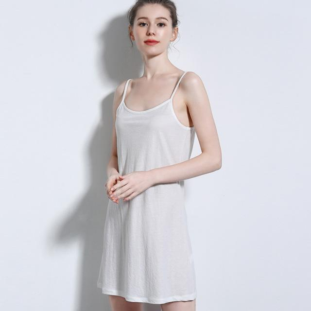 summer 2019 new linen cotton mid-length dress sleeveless sling bottom