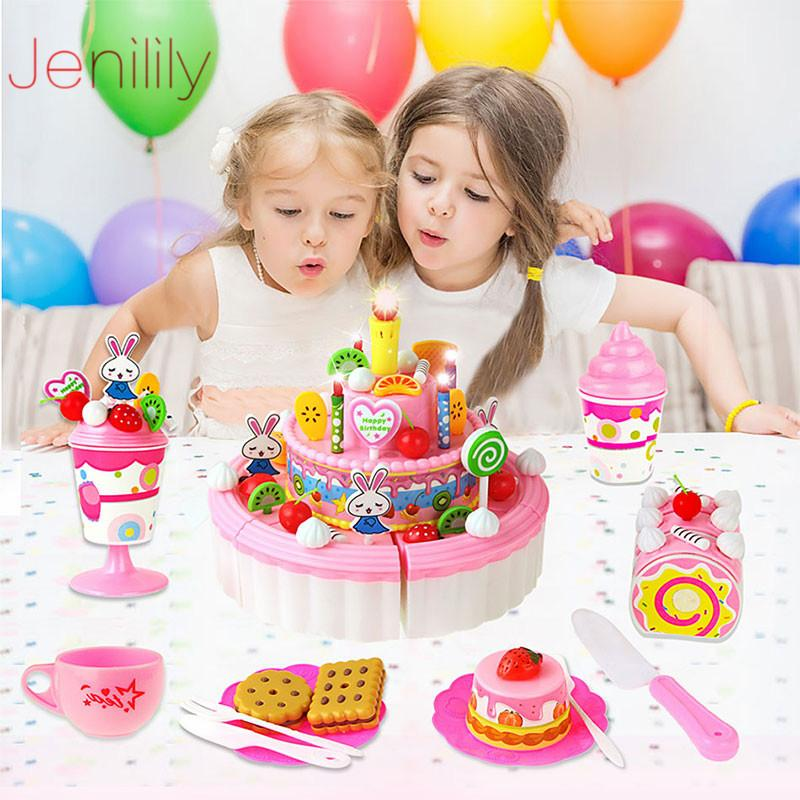 44-103Pcs DIY Pretend Play House Toys Fruit Cutting Birthday Cake Kitchen Food Education Toy Pink Blue Girls Gift for Children