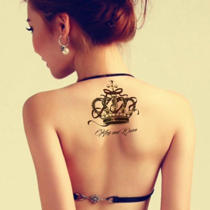 Cheap Tatuagens temporárias etiqueta impermeável tatuagem temporária no corpo volta grande coroa tatto adesivos piscar tatuagens falsas tatoo para as mulheres menina