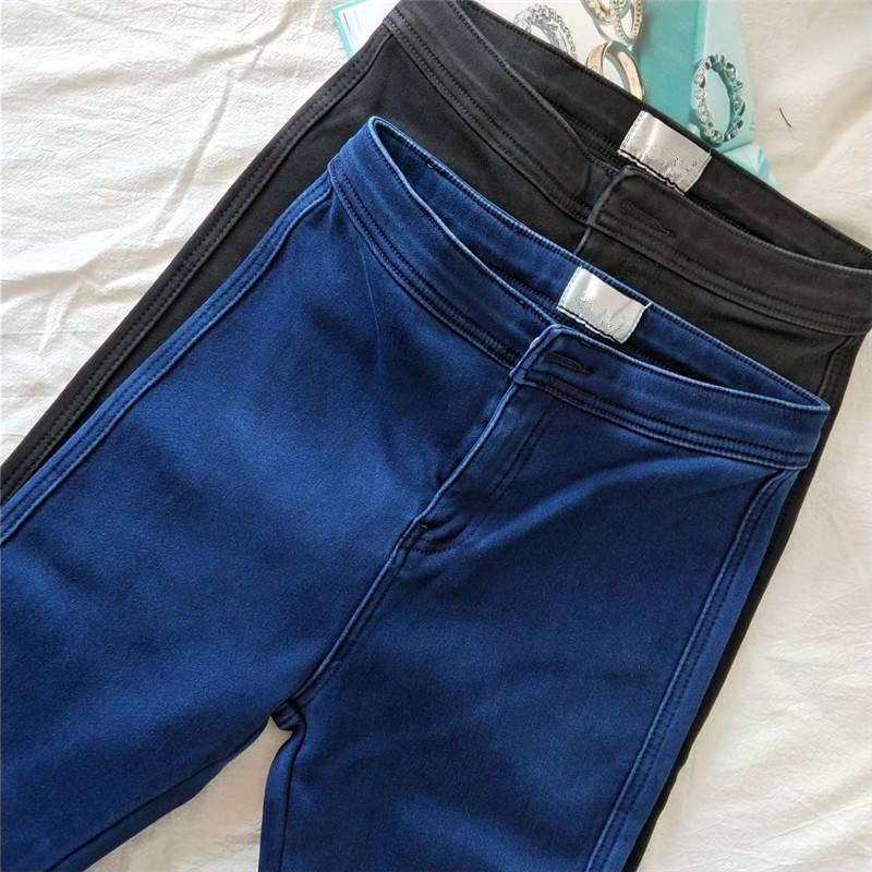 Süper Stretch Jeans Kadın Yeni Sonbahar Kış Artı Kadife Uzun Yüksek Bel Skinny Jeans Kadın Denim Kalem Pantolon Lady C5793