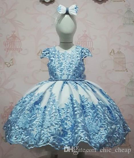 2019 ciel bleu perles dentelle arcs fleur fille robes robe boule manches robe fille robes de mariée Vintage Pageant robes robe F054