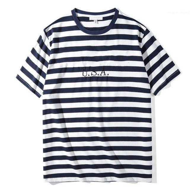 Jeans USA Mens strisce magliette di estate di modo ricamo Designer Mens Tees Maniche corte casuale allentata Camicie Uomo Abbigliamento