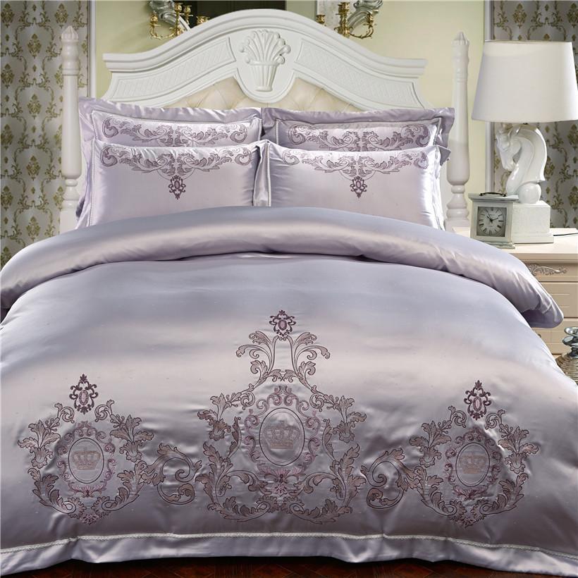Silber Cotton chinesische Stickerei-Bettwäsche-Sets Königin King-Size-Luxus-rote Hochzeits-Bettbezug Bettlaken / Bettwäsche Set Pillowcase T200414