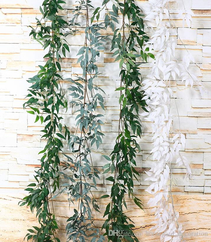 simulation wicker green leaves indoor plastic flower rattan wedding decoration plant rattan leaves fake flowers willow decoration