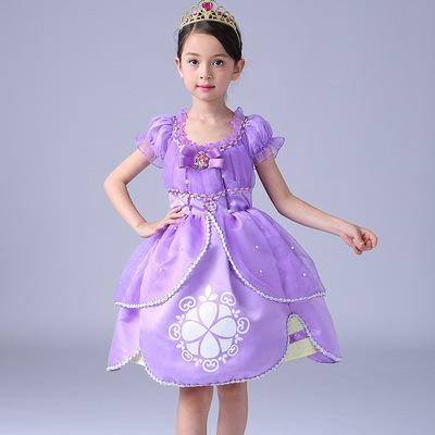free shipping 2020 Ice and Snow 2 wear Sophia long hair princess girl l 61 costume children's dress