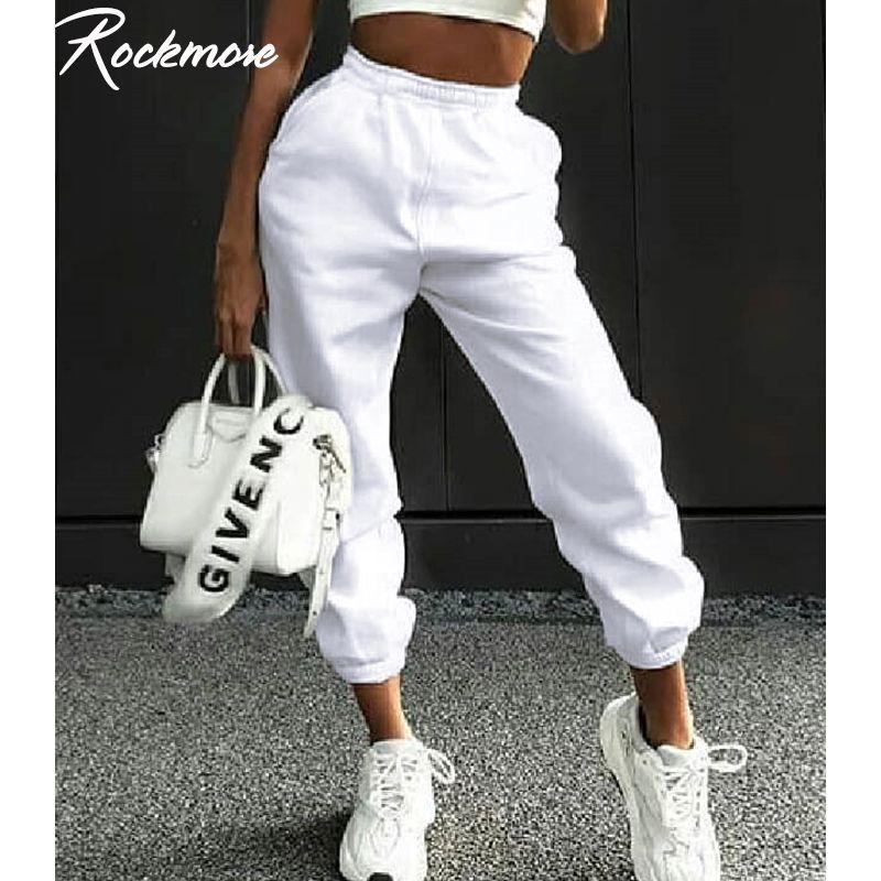 Rockmore Harajuku Corredores perna larga moletom Mulheres Calças Plus Size cintura alta calças Streetwear coreano Casual Queda Pant Femme