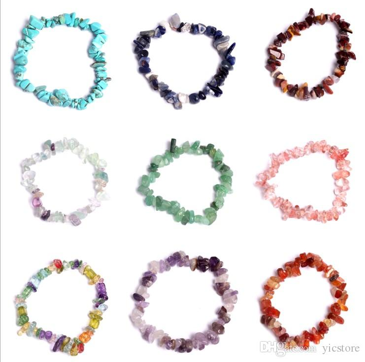 Natural Healing Crystal Sodalite Chip Gemstone 18cm Stretch Bracelet Natural Mixed Gemstone Chakra Fashion Bracelet Couple Bracelets