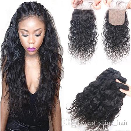 Virgin Malaysian Wet and Wavy 4x4 Silk Base Closure With 3Bundles 4Pcs Lot Water Wave Malaysian Virgin Hair Weaves With Silk Top Closure