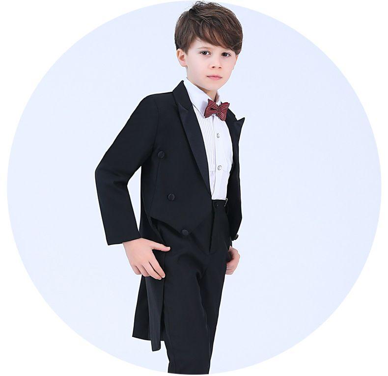 Fine Black Boys Tuxedos свадьба пианино костюм мальчик костюм 4 шт. Детские формальные носить первые святые причастия платья Ulzzang кольцо носитель костюмы мальчиков