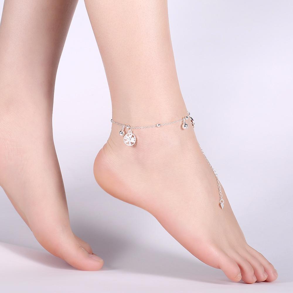 Mode Baum des Lebens aushöhlen Kette Fußkettchen 925 echte Sterling Silber Glocke Knöchel Armband Fußschmuck für Frauen Barfuß Strand
