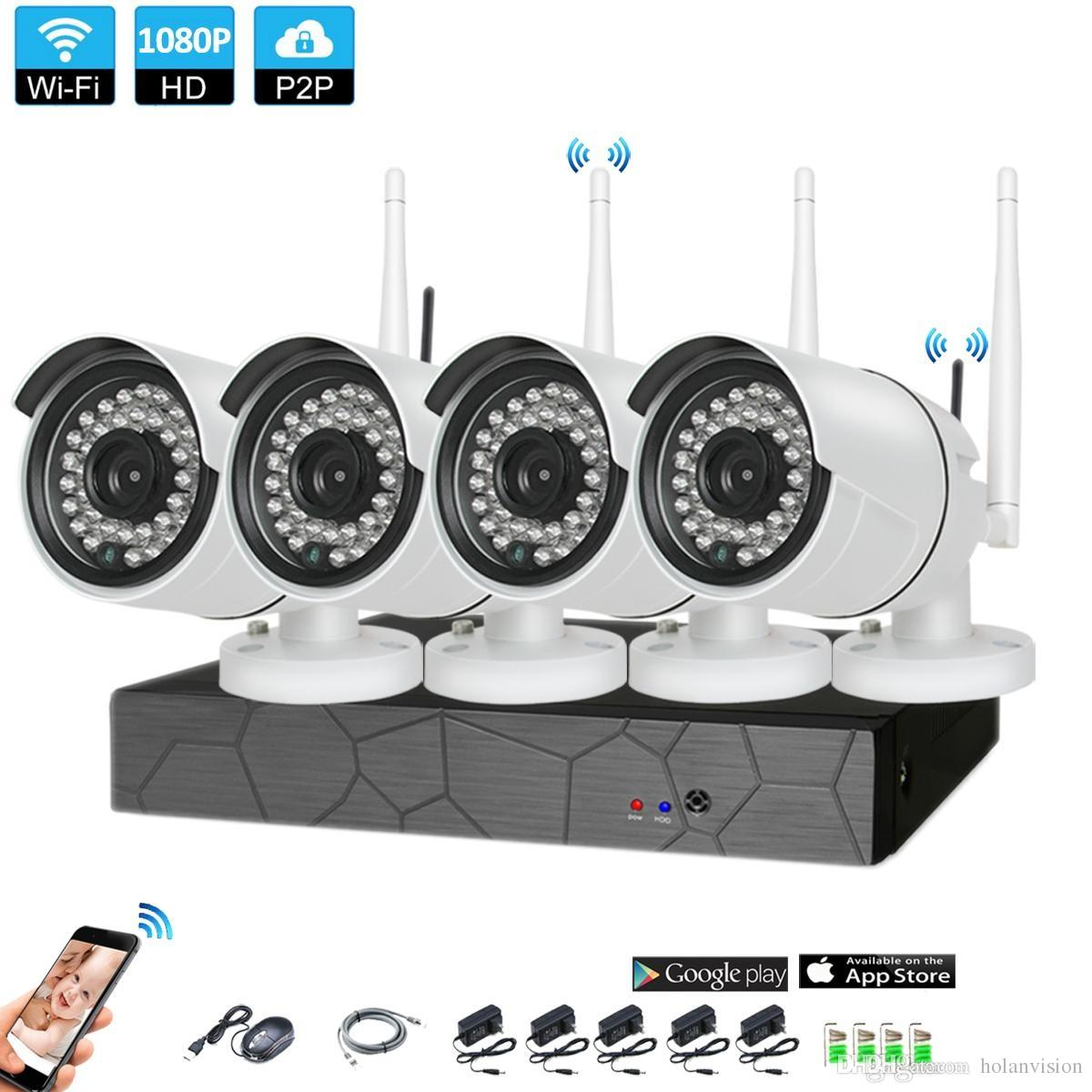 4CH نظام CCTV 1080P اللاسلكية NVR 4PCS 2.0MP IR P2P واي فاي IP CCTV الأمن كاميرا نظام مراقبة كيت