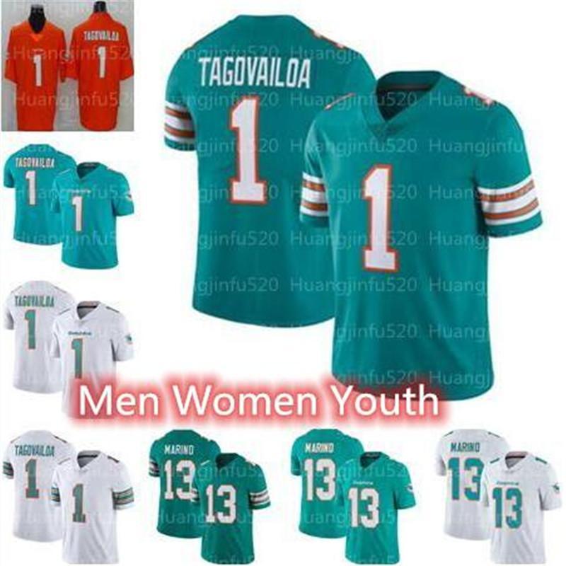 2020 새로운 1 왼쪽으로 Tagovailoa 마이애미돌고래남성 여성 아동 청소년 축구 유니폼 (13 개) 댄 마리노 유니폼