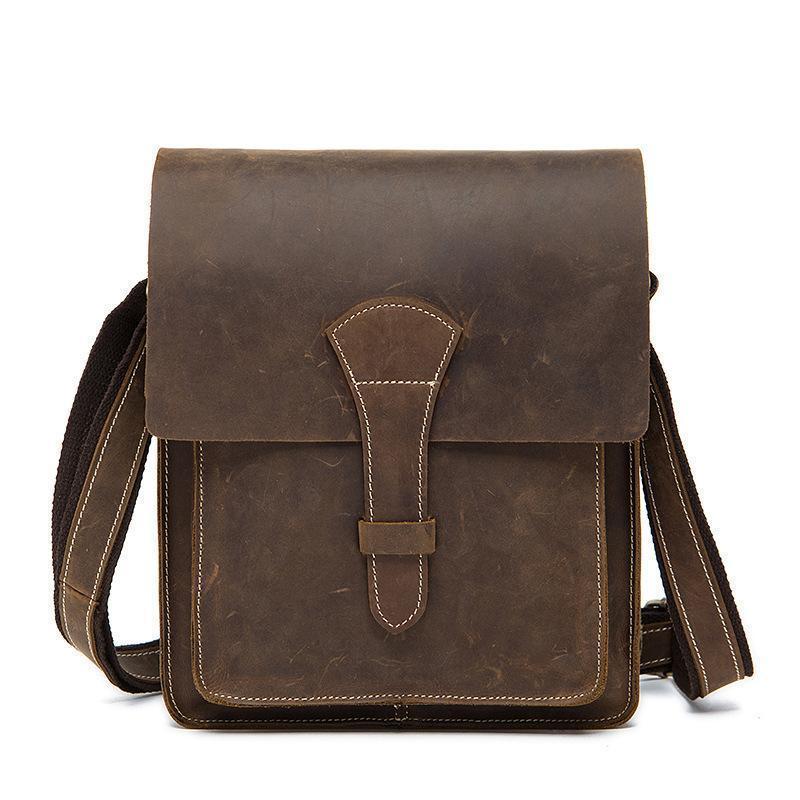 Thread Crazy Horse Genuine Leather Men Bags Fashion Handbag Shoulder Vintage Cow Bag Men Messenger Bags Business Briefcase