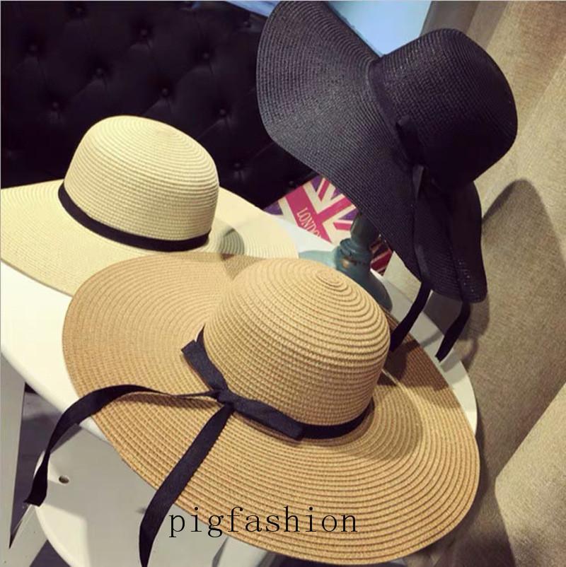 Verano Playa Mujeres plegable grande Floppy hats Mujeres plegable del sombrero de paja de las mujeres sombrero de paja de ala ancha al por mayor de sombreros
