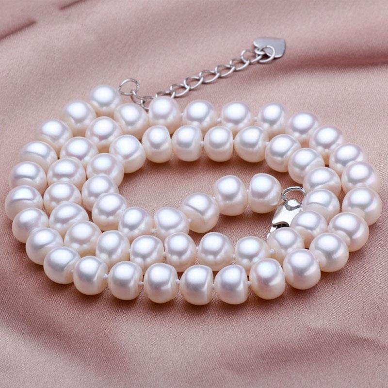 ASHIQI Natural Freshwater Pearl Necklace Real White 925 Sterling Silver Buckle Jewelry for Women Wedding