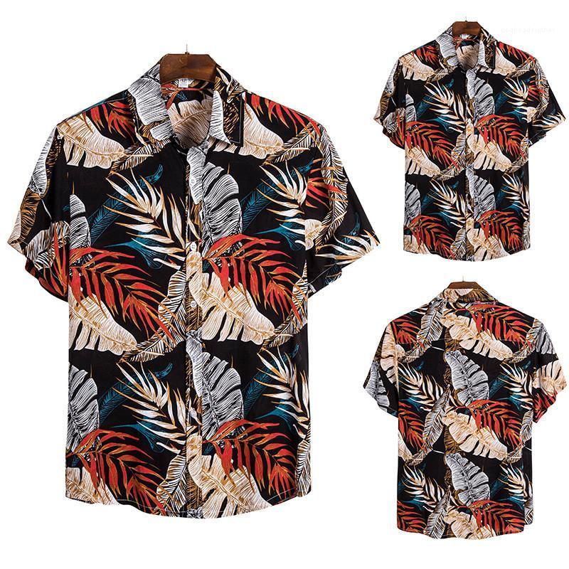 Manera de la playa del estilo de vacaciones Camisas de manga corta cuello de solapa Camisas para hombre Ropa de diseño de impresión para hombre delgado ocasional de las camisetas