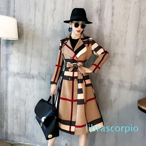 Winter-Frauen-Weinlese-Gitter dünne lange Plaid Coatprinted Warm Frauen zweireihiger Mantel Casaco Sobretudo Feminino Trench XM01