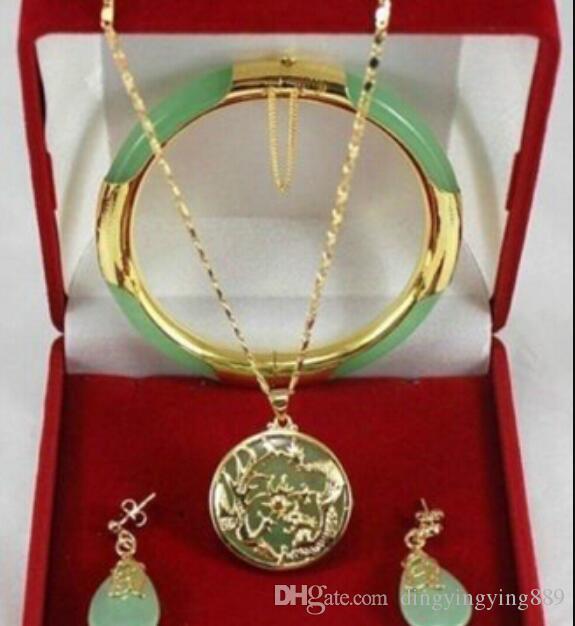bijoux livraison gratuite 00708 charmant vert jade Dragon Phoenix pendentifs collier boucle d'oreille bracelet
