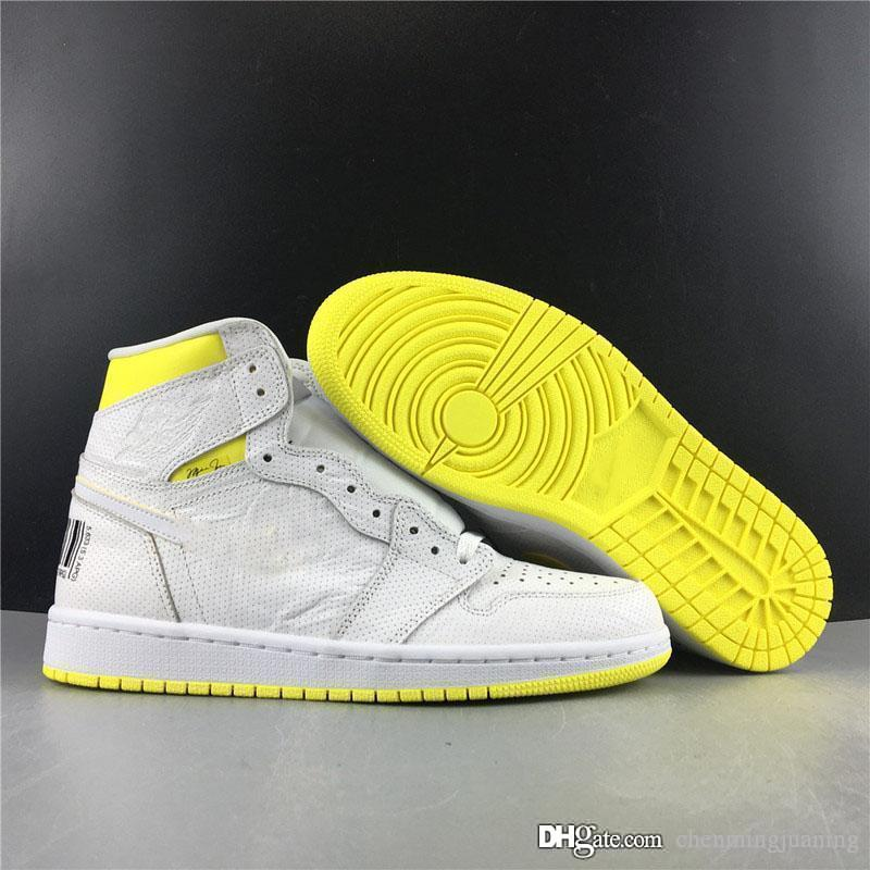 Newest Men 1S High OG Basketball Shoes First Class Flight White Dynamic Lemon Yellow Retro Athletic Man Sports Sneakers 555088-170 With Box