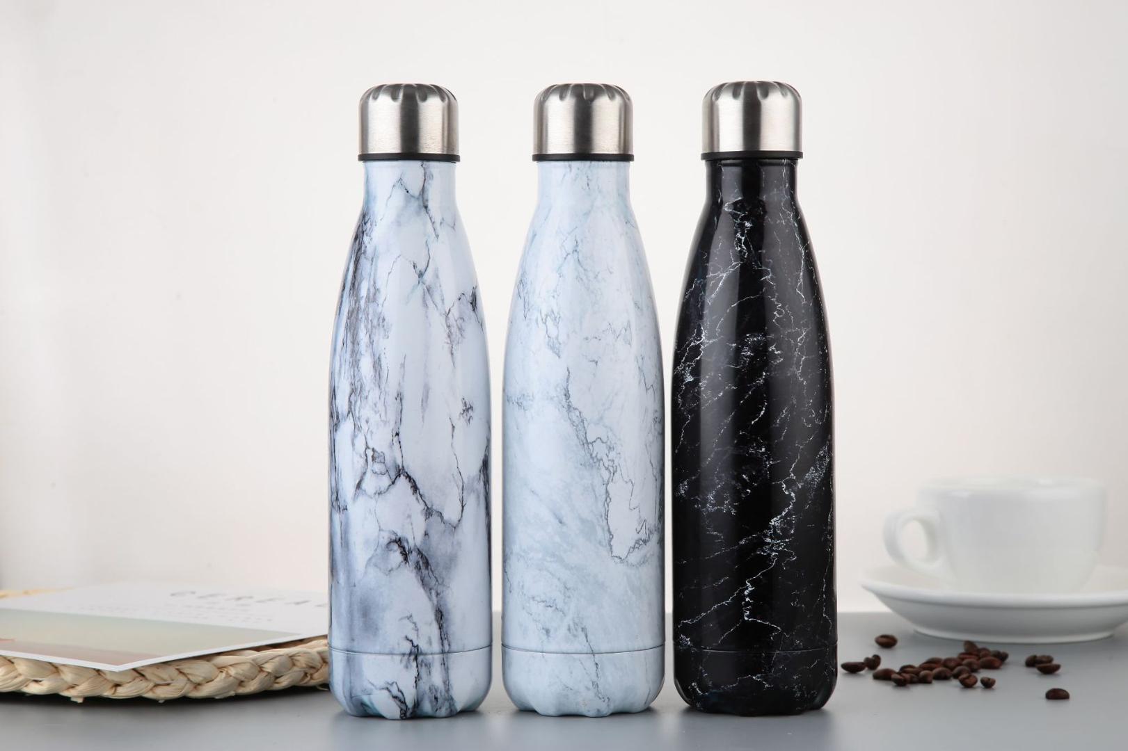 350/500 ml Mármol textura de acero inoxidable de doble pared con aislamiento de vacío Botellas jarro de agua café caldera del recorrido Frascos de vacío Bebida