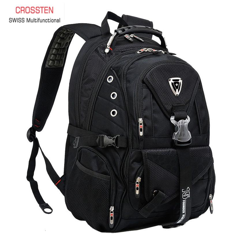 Swiss Multifunctional Travel laptop Backpack Men SchoolBags Students Business Rucksack 17 inch Computer bagpack waterproofMX190903