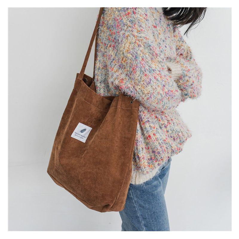Kadınlar Kadife Omuz Çantası Bayanlar Casual Eko Bez Çanta Katlama Yeniden kullanılabilir Alışveriş Çantaları Çanta Kadın Pamuk Tuval Bezi Kılıfı