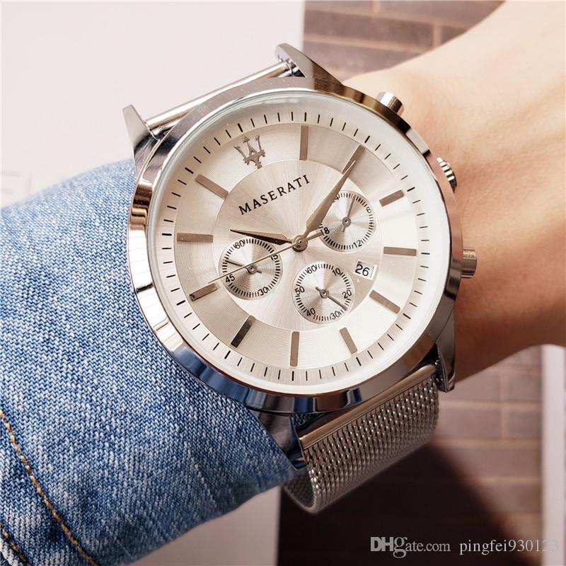Maserati luxo relógio para homens de aço Fino banda de quartzo relógio de negócios de lazer mens relógios de grife azul de discagem montre homme Frete grátis