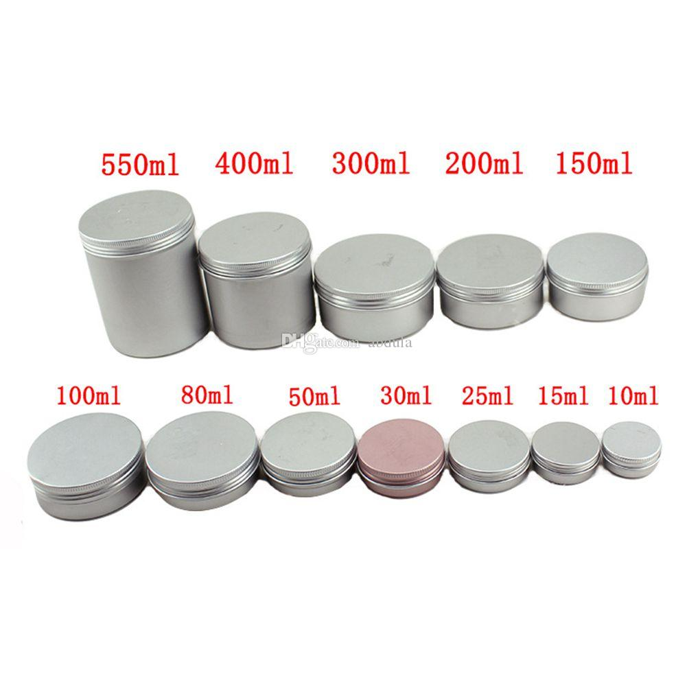 Aluminium-Glas Zinn Make-up Nagel Derocation Crafts Pot Flasche leer Aluminiumsahneglas Zinn 5g 10g 15g 20g 25g 30g 50g 80g 100g Aluminium Jar Tins