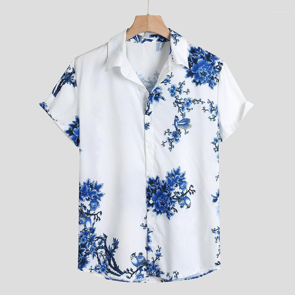 Blumen-Shirts Sommer Designer-hawaiische Strand-Kurzschluss-Hülsen Teenager-T-Shirts Männer Fahion lose Breath Kleidung der Männer chinesische Art-Blau