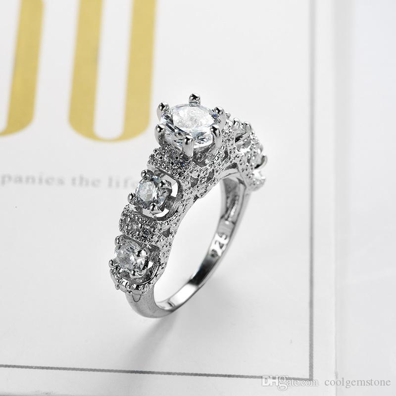 6 części / 1 partia Europa Popularne styl Vintage Topaz Crystal Rhinestone Gems 925 Sterling Silver Plated Lovers Biżuteria
