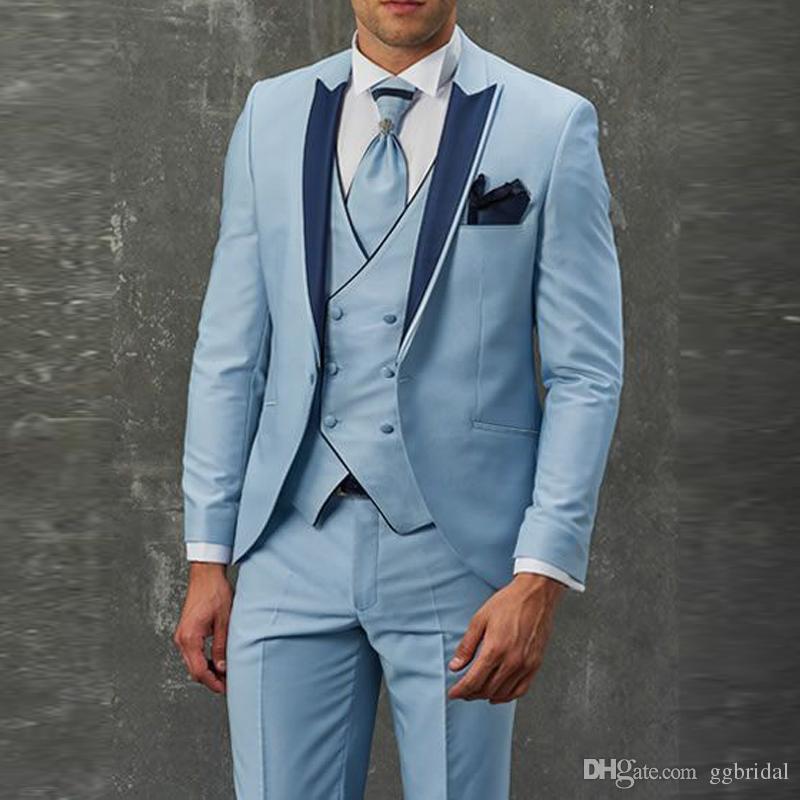 Hellhimmelblau Zweireiher Weste Herren Hochzeit Bräutigam Anzüge Hochzeit Smoking für Mann Groomsmen Anzug Maßgeschneiderte Slim Fit Bräutigam Smoking