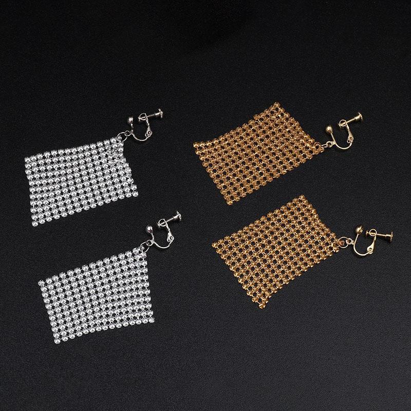 Mesh-Metall-Ohrringe baumeln lang Klipp auf Ohrring-Silber-Goldfarben-Tropfen-Frauen Clips Earing kein Piercing Statement Schmuck