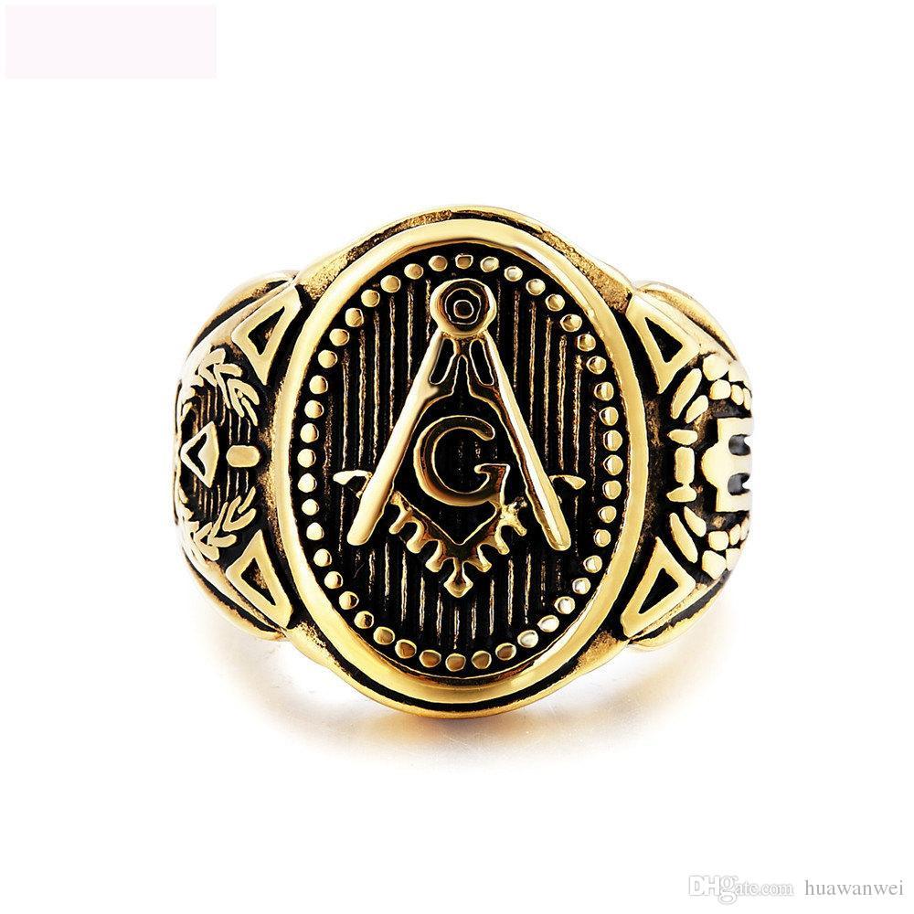 Масонство ювелирные изделия кольца из титана стали винтга кольцо ювелирные изделия ретро высокое качество кольцо для человека бесплатная доставка