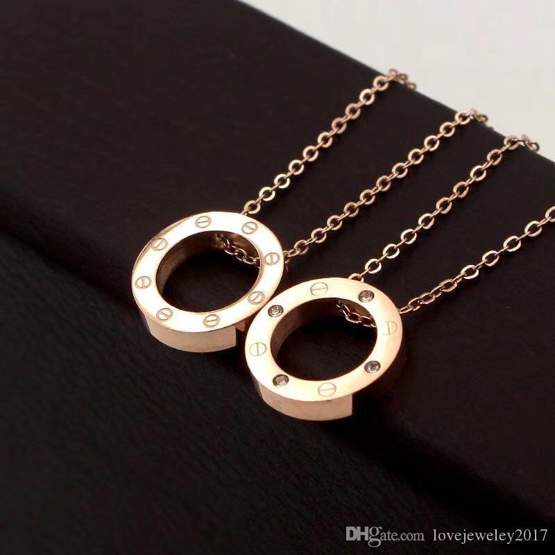 elmas gerdanlık moda Takı olan kadınlar Gümüş 18K Altın Yuvarlak gerdanlığı 316L Titanyum Çelik Rose Gold Vida Çember kolye kolyeler