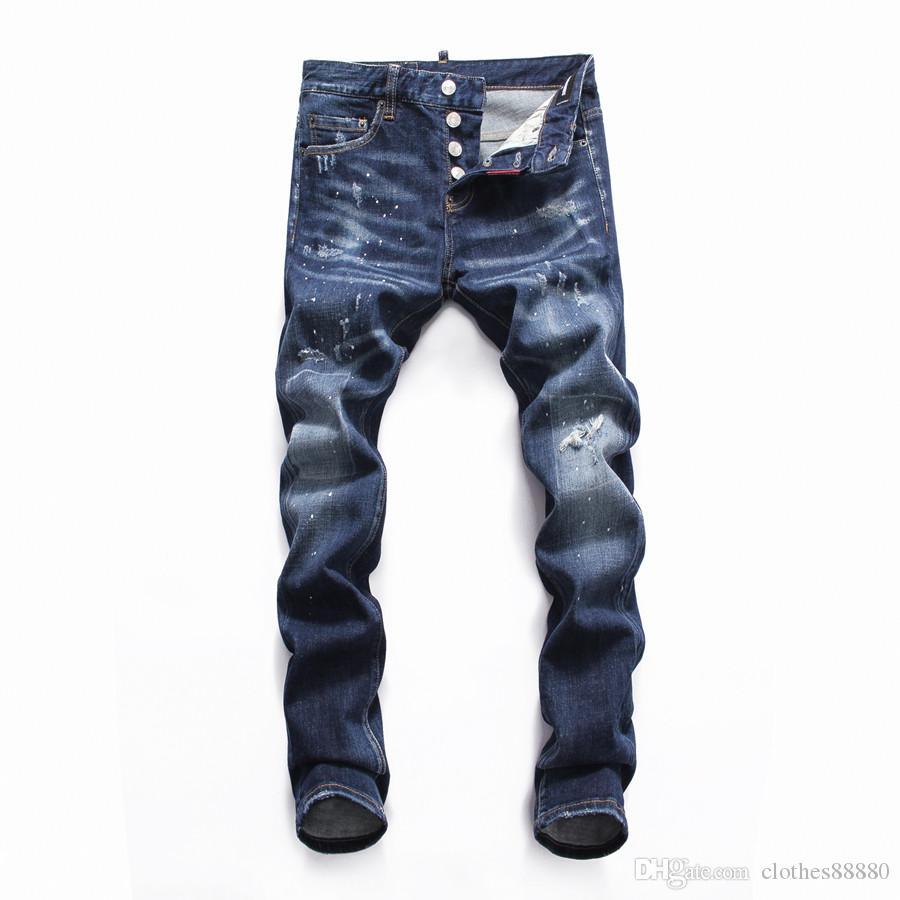 Мужские дизайнерские джинсы уничтожены молния тонкий джинсовый байкер узкие джинсы Рваные леггинсы мотоцикл фиолетовый бренд джинсы