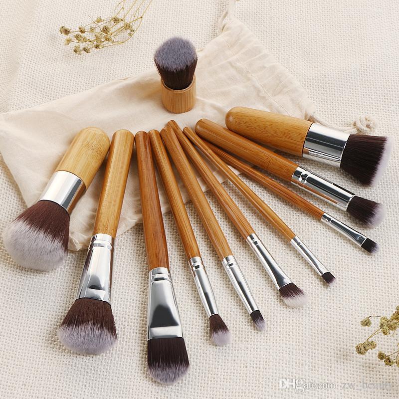 I più economici 11 pz / set manici in bambù pennello per il trucco delle donne set di pennelli per occhi set di pennelli cosmetici in bambù professionali pennelli per il trucco set strumenti di bellezza