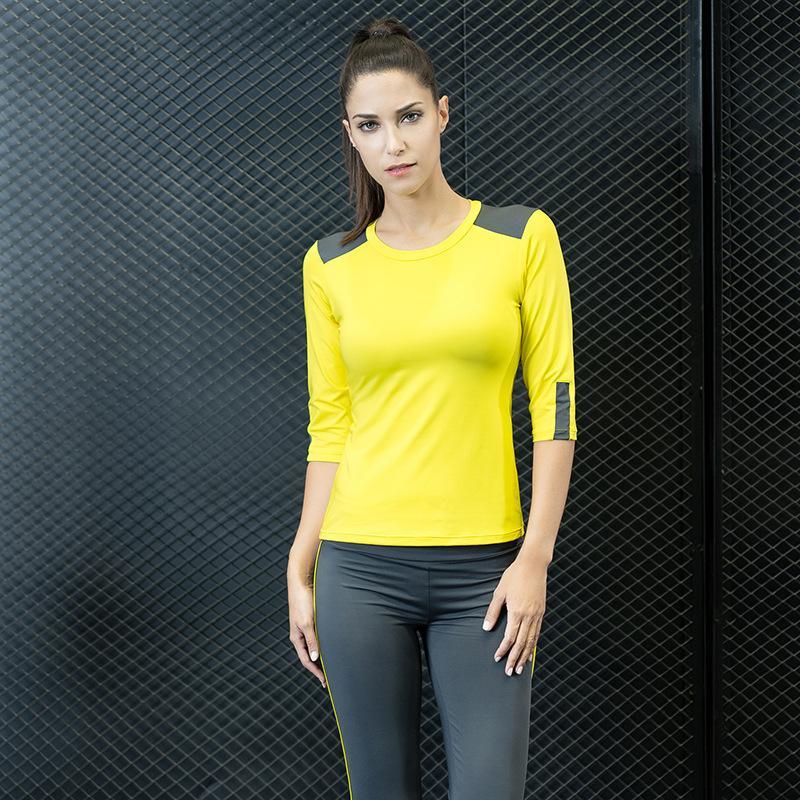 Fitness Costume Femmes Yoga Set solide Patchwork Slim Respirant Jaune / Aqua Capri Sport Shirt Pantalon taille haute de remise en forme de culturisme