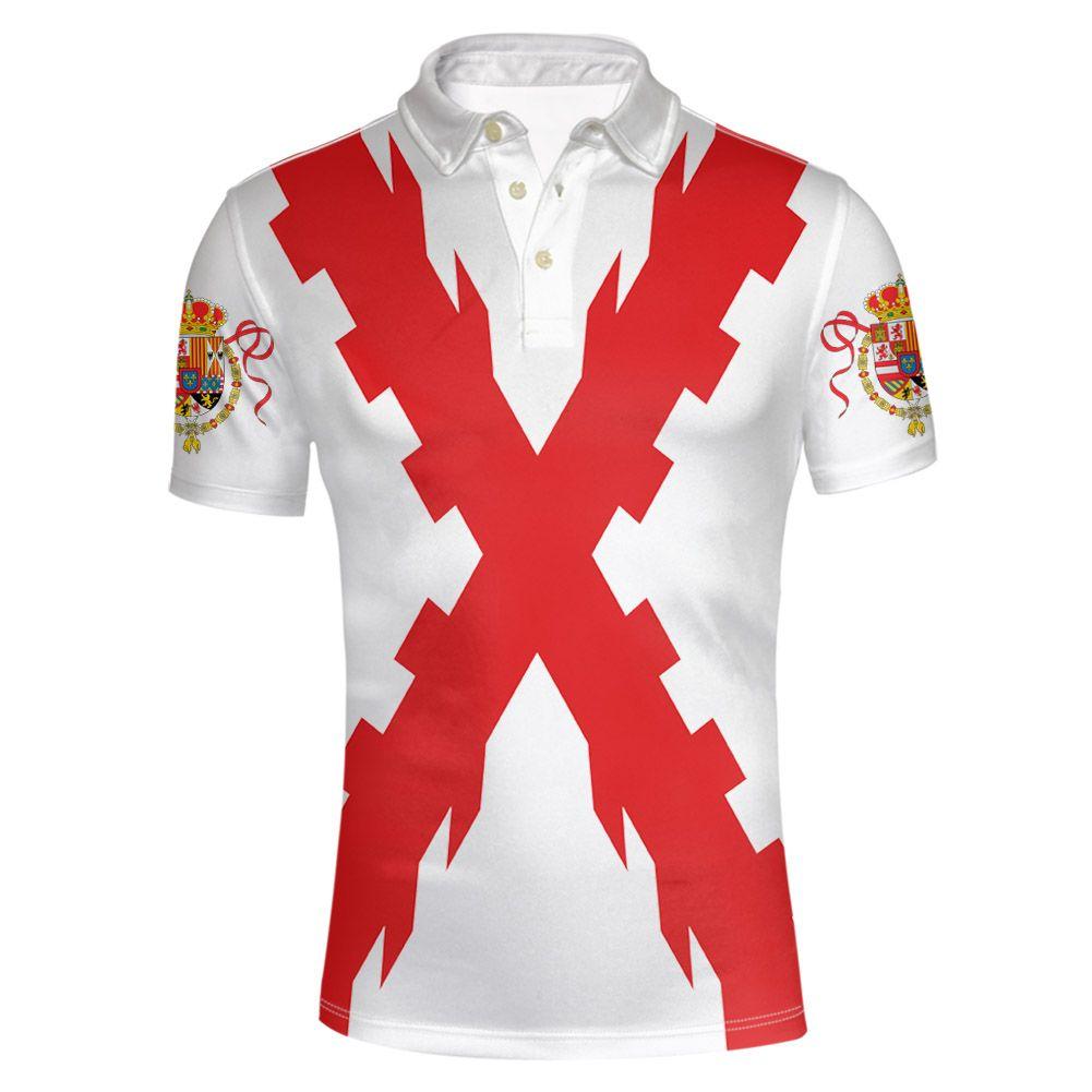 Испанская империя молодежь на заказ имя номер Испания Империо рубашка поло Бургундия испано католическая монархия печать фото флаг одежда