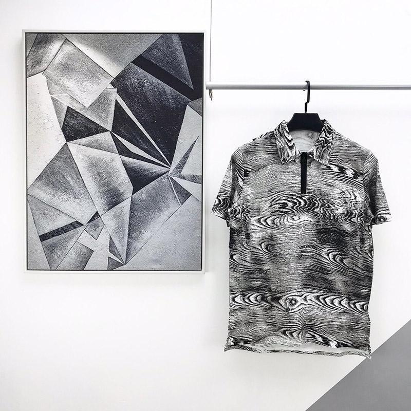 2020 Luxe Fashion Designer Europe Italie Gris Veine du bois T-shirt Hommes Femmes Zipper T-shirt décontracté coton Polo T