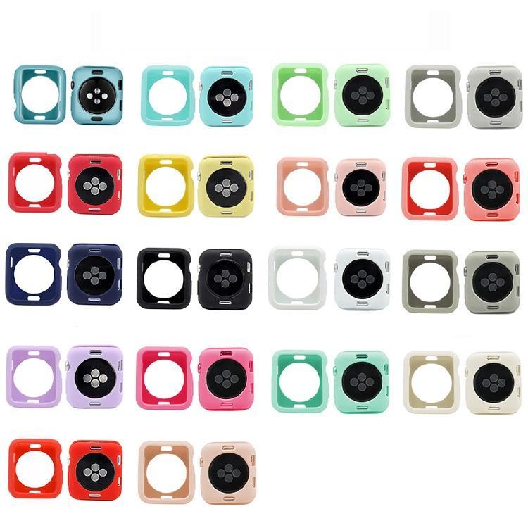 سيليكون ووتش حالة الغطاء عن اي ووتش 5/4/3/2/1 40MM 44mm وخدش pinkycolor الحالات الناعمة الملونة لiWatch سلسلة 3 2 42MM 38MM