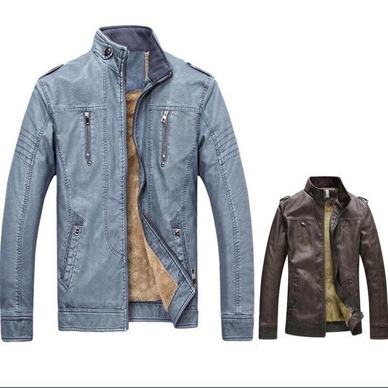 Pu Streetwear manteau d'hiver d'hommes en cuir daim épais chaud doublé polaire Bomber vestes pour hommes Veste Homme Suede Veste en cuir pour hommes