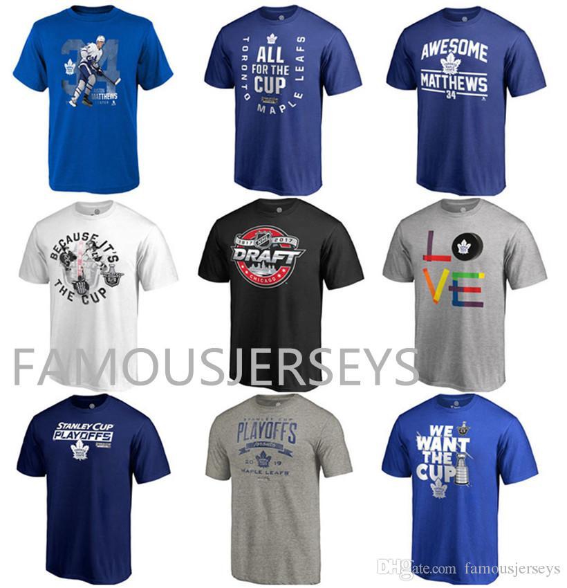 Toronto Maple Leafs t-shirt das eliminatórias do hóquei T-shirt dos fãs T-shirt Hot-impresso Awesome # 34 Auston Matthews clássico mens todo para o desgaste dos esportes do copo