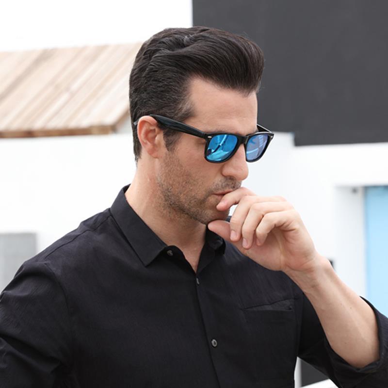 2019 Fashion HD Polarized Sunglasses Uomo Donna Vintage Square Mirror Occhiali da sole UV400 Black Frame Outdoor Occhiali da vista
